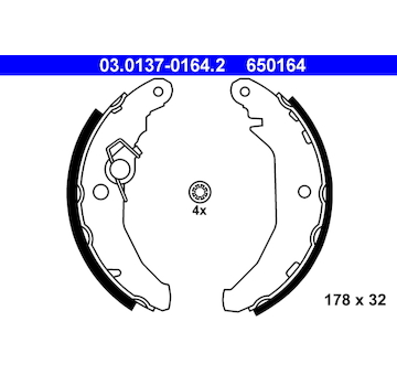 Sada brzdových čelistí ATE 03.0137-0164.2