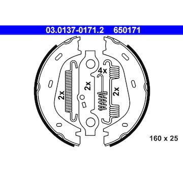 Sada brzdových čelistí, parkovací brzda ATE 03.0137-0171.2