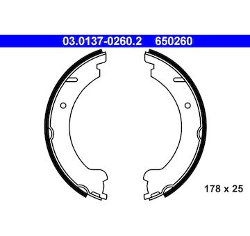 Sada brzdových čelistí, parkovací brzda ATE 03.0137-0260.2