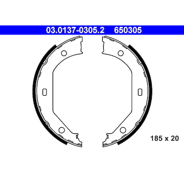 Sada brzdových čelistí, parkovací brzda ATE 03.0137-0305.2