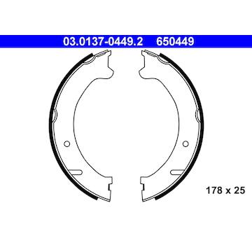 Sada brzdových čelistí, parkovací brzda ATE 03.0137-0449.2