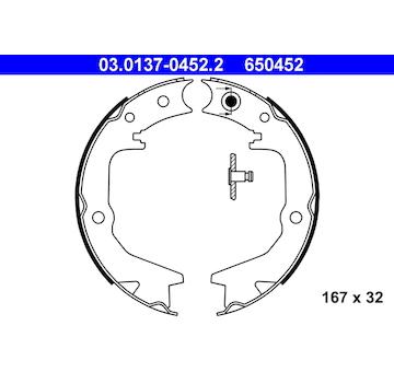 Sada brzdových čelistí, parkovací brzda ATE 03.0137-0452.2