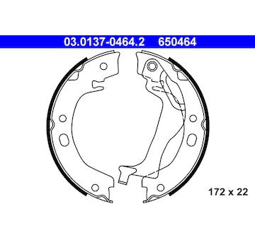 Sada brzdových čelistí, parkovací brzda ATE 03.0137-0464.2