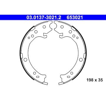 Sada brzdových čelistí, parkovací brzda ATE 03.0137-3021.2
