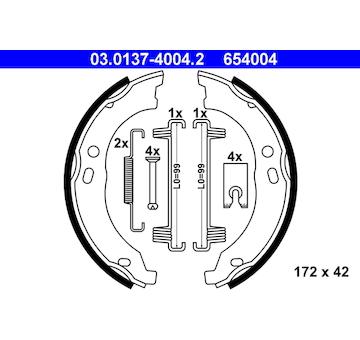 Sada brzdových čelistí, parkovací brzda ATE 03.0137-4004.2