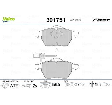 Sada brzdových destiček, kotoučová brzda VALEO 301751