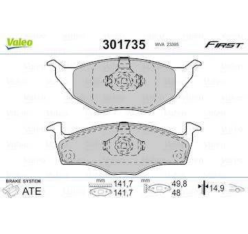 Sada brzdových destiček, kotoučová brzda VALEO 301735