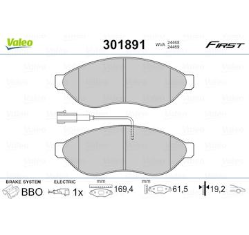 Sada brzdových destiček, kotoučová brzda VALEO 301891