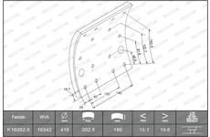 obložení brzdové náprava PERROT FERODO K19262.0 F3653 TATRA E2 410x180mm