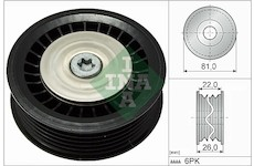 Vratna/vodici kladka, klinovy zebrovy remen INA 532 0678 10